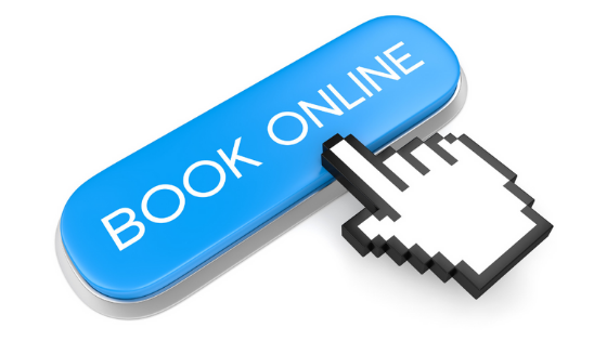 An online booking button with a hand pushing the button for 24/7 appointment scheduling.
