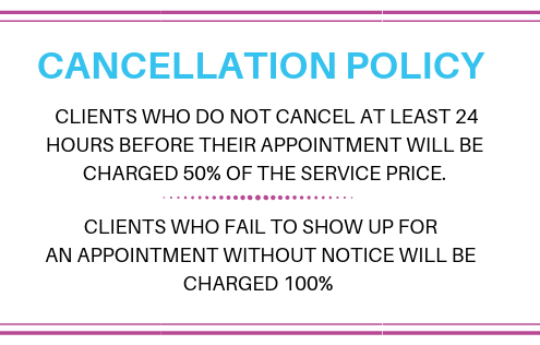 A text box with a salon cancellation policy.