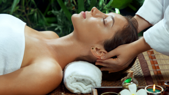 A woman in a spa receiving personalised customer service.