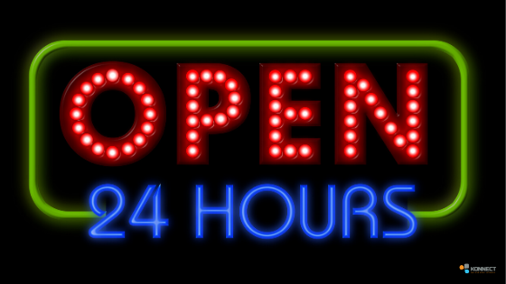 A neon sign. open 24/7