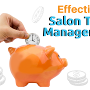 "A hand putting a clock into a piggy bank with text ""Effective Salon Time Management"""